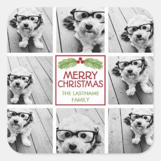 素朴なマツが付いているクリスマスの写真のコラージュ スクエアシール