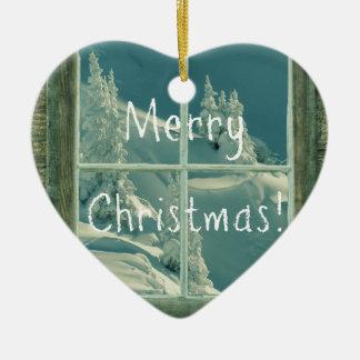 素朴なメリークリスマスの雪の窓 セラミックオーナメント