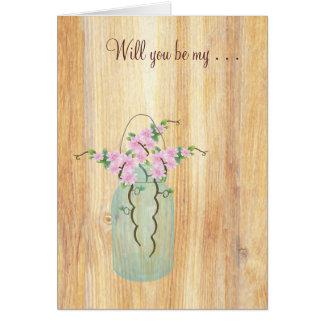 素朴なメーソンジャーのピンクのツツジはです私決定します カード