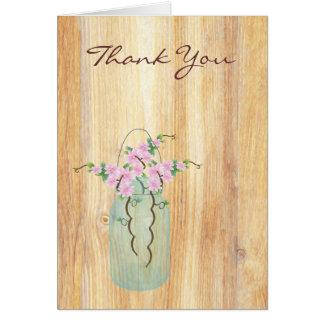 素朴なメーソンジャーのピンクのツツジはノート感謝していしています カード