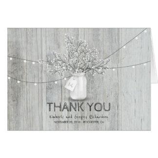 素朴なメーソンジャーのベビーの呼吸結婚式は感謝していしています カード