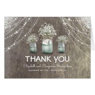 素朴なメーソンジャーのベビーの呼吸花は感謝していしています カード