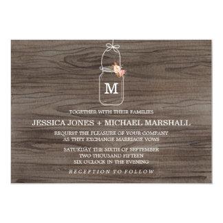 素朴なメーソンジャーの結婚式招待状 カード