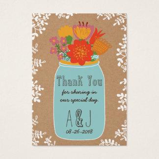 素朴なメーソンジャーの花の技術の紙は感謝していしています 名刺