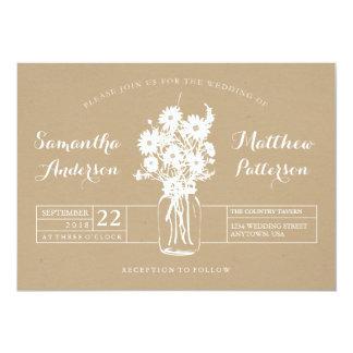 素朴なメーソンジャーの野生の花の結婚式招待状 カード
