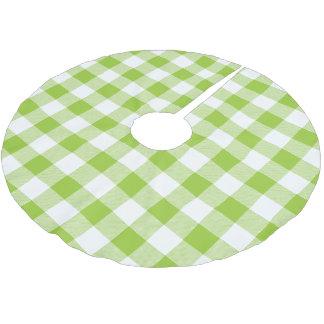 素朴なライムグリーンおよび白のバッファローの点検の格子縞 ブラッシュドポリエステルツリースカート