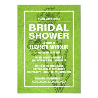 素朴なライムグリーンのブライダルシャワー招待状 カード