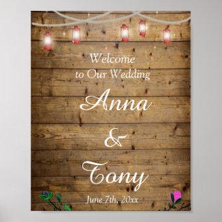素朴なランタンは結婚式ポスターをつけます ポスター