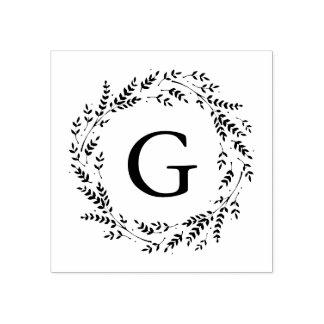 素朴なリースのモノグラムのゴム印 ラバースタンプ