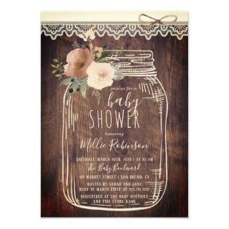 素朴なレースは及び の花のメーソンジャーのベビーシャワーをより合わせます カード