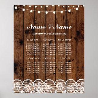 素朴なレース及び木ポスター座席を結婚するテーブル ポスター