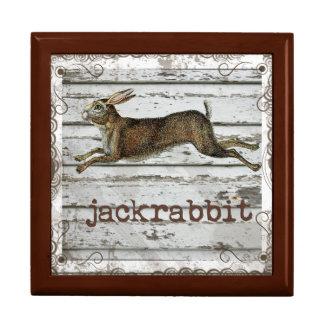素朴なヴィンテージのジャックウサギのノウサギの引く白い木 ギフトボックス