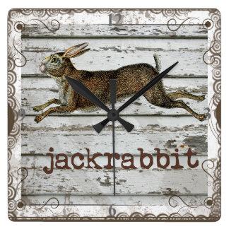 素朴なヴィンテージのジャックウサギのノウサギの引く白い木 スクエア壁時計