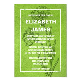 素朴なヴィンテージのライムグリーンの結婚式招待状 カード