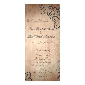 素朴なヴィンテージの結婚式プログラム パーソナライズラックカード