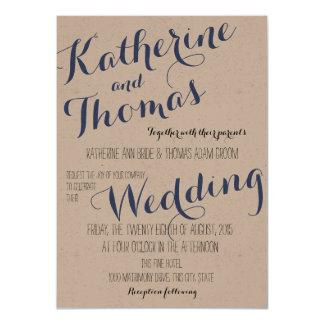 素朴な優雅のタイポグラフィのデザインの結婚式 11.4 X 15.9 インビテーションカード