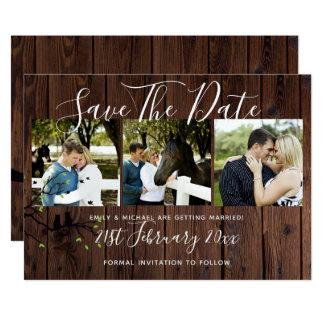 素朴な写真のコラージュの保存日付の結婚式 カード