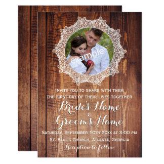 素朴な写真木およびレースの結婚式 12.7 X 17.8 インビテーションカード