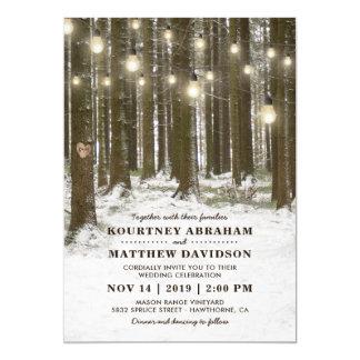 素朴な冬の森林木のひもは結婚式をつけます カード