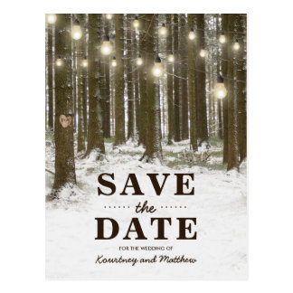 素朴な冬の森林木の保存日付 ポストカード