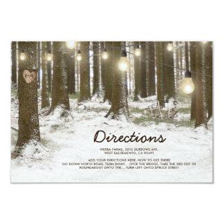 素朴な冬の森林木の結婚式の方向 カード