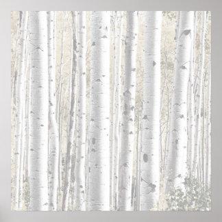 素朴な冬の白い樺の木の森林 ポスター