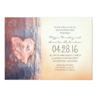 素朴な切り分けられたハートの木の婚約パーティ カード