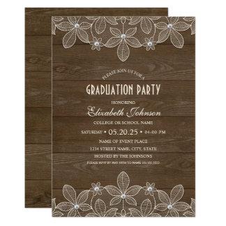 素朴な卒業パーティーの木製のレースの真珠の卒業生 カード