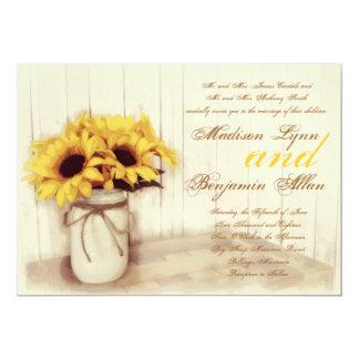 素朴な国のヒマワリのメーソンジャーの結婚式の招待 カード