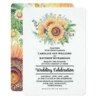 素朴な国のヒマワリの結婚式招待状 カード