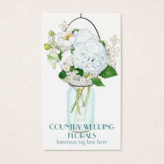 素朴な国のメーソンジャーによっては白いアジサイが開花します 名刺