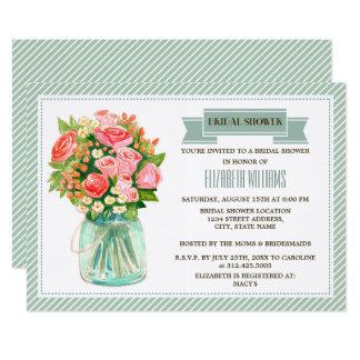 素朴な国のメーソンジャーのブライダルシャワー招待状 12.7 X 17.8 インビテーションカード