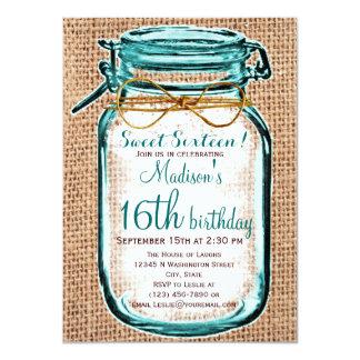 素朴な国のメーソンジャーの誕生日の招待状 11.4 X 15.9 インビテーションカード