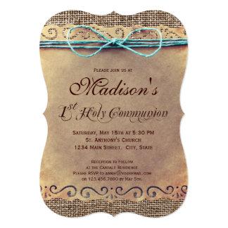 素朴な国のヴィンテージの第1聖餐の招待状 カード