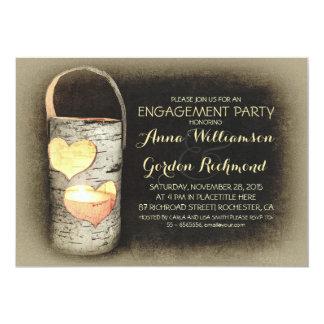 素朴な国の木の蝋燭の婚約パーティ カード