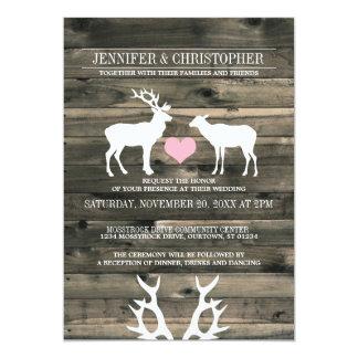 素朴な国の木びき台および雌ジカの結婚式招待状 12.7 X 17.8 インビテーションカード