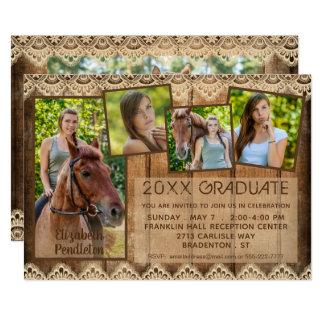 素朴な国の木及びレース の卒業生 の5写真 カード