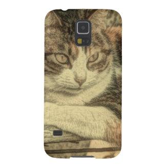 素朴な国の猫好きの農家の茶色のぶち猫 GALAXY S5 ケース
