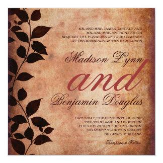 素朴な国の紅葉の秋の結婚式の招待 カード
