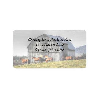 素朴な国の納屋および馬の住所 ラベル