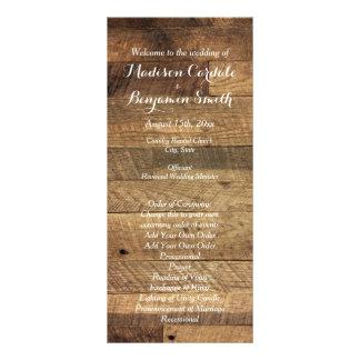 素朴な国の納屋の木製の結婚式プログラムのテンプレート ラックカード