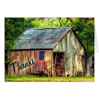 素朴な国の納屋の米国旗の感謝は感謝していしています ノートカード