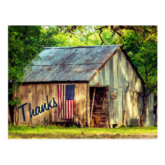 素朴な国の納屋の米国旗の感謝は感謝していしています ポストカード