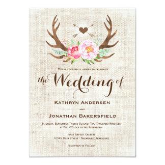 素朴な国の花の(雄ジカの)枝角の結婚式招待状 カード