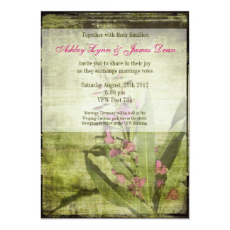 素朴な国のFireweedの結婚式招待状のピンク カード