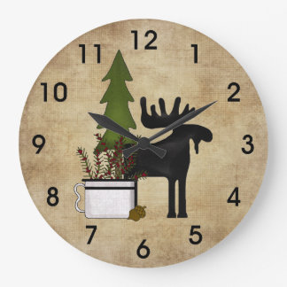 素朴な国山のシルエットのアメリカヘラジカ ラージ壁時計