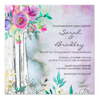 素朴な庭の水彩画の結婚式招待状 カード