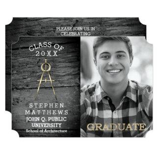 素朴な建築家の建築のコンパスの卒業 カード