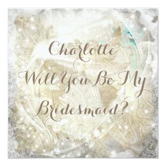 素朴な意志私の新婦付添人の招待状です カード