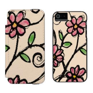 素朴な手描きの花パターン iPhone SE/5/5sウォレットケース